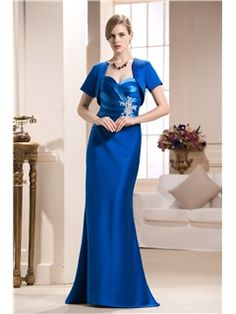 Attractive Caystal Floral Pin Column Floor-Length Strapless Mother of the Bride Dress