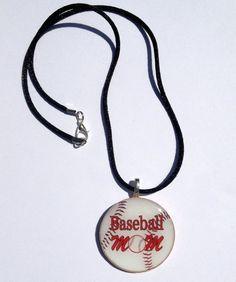 Buy Baseball Mom Necklace Sports Pendant by sherrollsdesigns. Explore more products on http://sherrollsdesigns.etsy.com