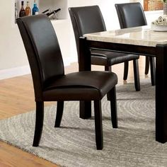 Gladstone Contemporary Style Dark Walnut Finish Dining Chairs (Set of Dinning Chairs, Solid Wood Dining Chairs, Dining Decor, Upholstered Dining Chairs, Dining Chair Set, Dining Room Furniture, Side Chairs, Furniture Decor, Black Leather Dining Chairs