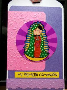 Invitación scrapbook primera comunión virgencita plis