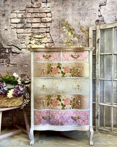 Painted Furniture Furniture Redesign by LauraDesignsShop on Etsy Nautical Furniture, Beach Furniture, Bohemian Furniture, Cottage Furniture, Shabby Chic Furniture, Decoupage Furniture, Painted Furniture, Painted Dressers, Refinished Furniture