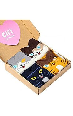 4 Pairs Soft Comfortable Novelty Cartoon Aminal Cat Crew Pattern Cotton Socks (4 pairs(4 colors cat)) ❤ ...
