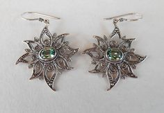 Balinese Sterling Silver Green Quartz dangle Earrings / by Telur