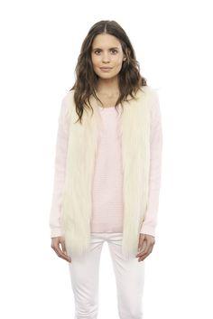 Fur Play Vest in Ivory