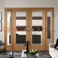 838mm wide central doors, fixed sides, Easi-Frame Oak Door Set, GOSHAP10-COEOP3-838, 2005mm Height, 2364mm Wide. #interiorroomdivdiders #directdoors