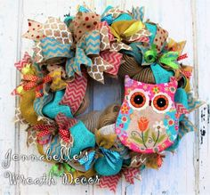 Summer Wreath Spring Wreath Burlap Mesh Wreath Owl by JennaBelles - Crafts All Over Paper Flower Wreaths, Owl Wreaths, Deco Mesh Wreaths, Easter Wreaths, Ribbon Wreaths, Yarn Wreaths, Floral Wreaths, Holiday Wreaths, Ribbon Bows