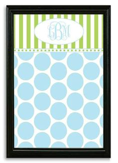 Blue Dot & Green Stripe Framed Magnetic Board