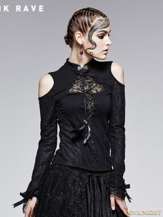 0ff69baf975aa Gothic Black Stand-up Collar Retro Off-shoulder T-shirt For Women