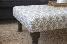 to Make a DIY Tufted Fabric Ottoman / Coffee Tables (From Old Tables) DIY Tufted Ottoman.from an old kithen table (or coffee table) --- Make It and Love ItDIY Tufted Ottoman.from an old kithen table (or coffee table) --- Make It and Love It