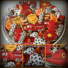 Fireman Firetruck Cookies *Ü* Too Cute for a birthday party! I have some of these shapes, must make them!