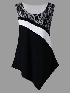 """Panel Asymmetric Tank Top Item Type: Tops Gender: Women Decoration: Lace Tops Type: Tank Tops Material: Rayon Fabric Type: Broadcloth Style: Casual Clothing Length: Regular Pattern Type: Others""""}, """"http_status"""": window. Umgestaltete Shirts, Sewing Blouses, Fashion Sewing, Mode Style, Lace Tops, Ladies Dress Design, Blouse Designs, Blouses For Women, Plus Size"""