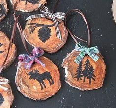 DIY Rustic Ornaments..You can either freehand your designs with a pencil, or use mini cookie cutters for stencils. Another idea is to google some north woods decorations and print out a few designs to use. You can even use black transfer paper to add the designs to the wood.