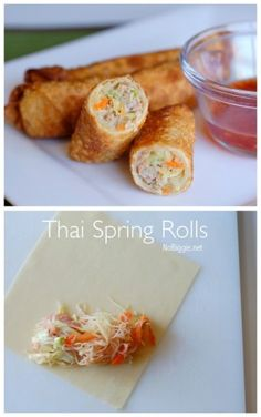 Thai spring rolls are so delicious! Learn how to make Thai Spring Rolls at home. They make the best make ahead appetizer, they freeze well and they can feed a crowd! Thai Recipes, Asian Recipes, Cooking Recipes, Healthy Recipes, Easy Recipes, Thai Spring Rolls, Vietnamese Spring Rolls, Pork Spring Rolls, Fried Spring Rolls