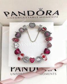 $378 Pandora love kiss red theme charm bracelet#pandora #live#kiss#red#safetychain#muranoglass