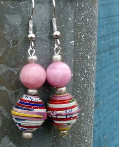 Pink Silver Cereal Box Bead Earrings by DescendingDoveDesign, $14.00