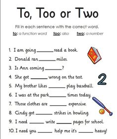Worksheets: Homophones: To, Too or Two. My students WILL know and use these correctly! Teach children English with this worksheet to learn homophones to too and two. Great for at school and home learning. Teaching Grammar, Grammar Lessons, Teaching Writing, Writing Skills, Teaching English, Grammar Games, Teaching Multiplication, Spelling Activities, Teaching Spanish