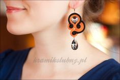 soutache earrings with Swarovski Crystals