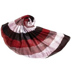 Chic Big Stripe Pattern Overlong Voile Scarf For Women