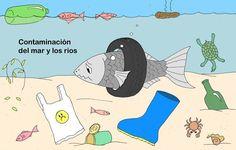 Contaminación del mar y de los ríos. Ilustración