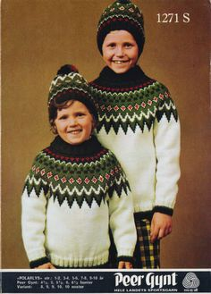Polarlys 1271 S - cute retro sweaters, my mother knitted similar sweaters for me and my brother in the Old Magazines, Knitting For Kids, Christmas Sweaters, Knitting Patterns, Crochet Hats, Retro, Coat, Brother, Baby