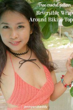 Easy beginner friendly Reversible Wrap Around Bikini Top free crochet patternby jennyandteddy