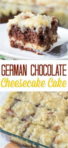 German Chocolate Cheesecake Cake recipe from The Country Cook (Cherry Dessert Recipes) Cheesecake Cake, Cheesecake Recipes, Köstliche Desserts, Dessert Recipes, Plated Desserts, German Chocolate Cheesecake, Best German Chocolate Cake Recipe Ever, Homemade German Chocolate Cake, German Apple Cake