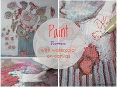 Paint flowers with watercolor on canvas on ARTiful painting demos by Sandrine Pelissier