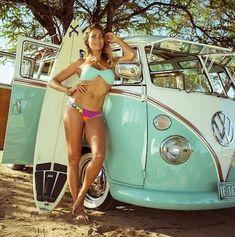 girls and cars - surfer girl with her best friend, vw bus Volkswagen Transporter, Volkswagen Bus, Vw T1, Volkswagen Beetles, Bus Camper, Vw Caravan, Campers, Jeep Carros, Combi Ww