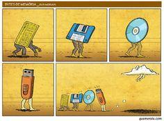 Evolución de los sistemas de almacenamiento portátiles: de la tarjeta perforada a la nube. Fuente: Gus Morais