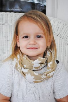 Toddler/Child Infinity Looped Scarf: Tan with Cream Flowers/Circle Scarf - Complete Finished Tube Loop - No Raw Edges. $12.75, via Etsy.