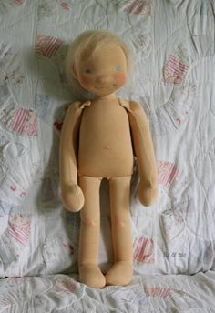 Little Caleb, a custom natural fiber art doll by Fig and Me.