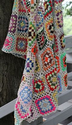 Here's some lovely granny square inspiration for your dash today.  No pattern, but there are a ton of granny square patterns all over the net, including my past blog posts (HERE) that might help you create something similar.  Love the open work that connects the squares!  Granny Square Throw - Photo by moxie-girl on Flickr