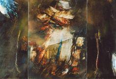"""Yahne le Toumelin, """"Triptyque zurboranesque"""" 120x180, 1998. Abstracción lírica"""