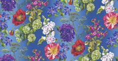 Alexandria Lapis (P623/01) - Designers Guild Wallpapers - A large floral design with various flowers including poppies, roses, clematis and hydrangea's. Shown here in red, white, pink, purple and blue on a blue background. Please request a sample for a true colour match. Paste the wall product. Pattern repeat 72cm