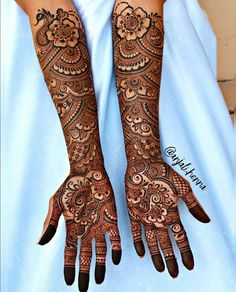 Henna is the most traditional part of weddings throughout India. Let us go through the best henna designs for your hands and feet! Arabic Mehndi Designs Brides, Wedding Henna Designs, Engagement Mehndi Designs, Latest Bridal Mehndi Designs, Indian Mehndi Designs, Full Hand Mehndi Designs, Mehndi Designs 2018, Indian Wedding Henna, Hena Designs