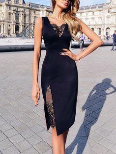 Black Lace Knee Length V-Neck Short Homecoming Dresses, - Trendy Dresses Dresses For Teens, Trendy Dresses, Sexy Dresses, Vintage Dresses, Dress Outfits, Nice Dresses, Short Dresses, Dress Up, Summer Dresses