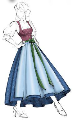 Mackenzie saved to designDirndl im Miederschnitt (Modell - Sehr beliebte. Oktoberfest Outfit, Organza, Dirndl Dress, Illustration Mode, Dress Drawing, Full Skirts, Fashion Sketches, Dress Patterns, Beautiful Dresses
