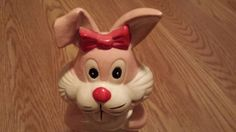 Pink Bunny Bank Old Bank Vintage Bunny by RCEastman on Etsy, $9.00