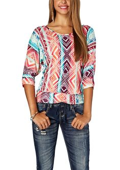 Bow Back Tribal Tie Dye Dolman Top | 2 for $20 | rue21