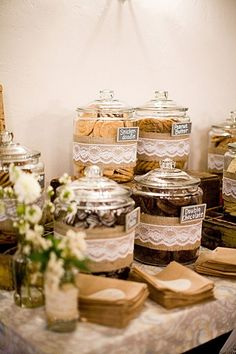 rustic vintage wedding decor dessert table candy buffet cover sweet jars in burlap and lace hessian wedding ideas Candybar Wedding, Wedding Desserts, Wedding Buffets, Wedding Cookies, Cookie Bar Wedding, Candy Bar For Wedding, Pie Bar Wedding, Wedding Snack Bar, Drinks Wedding