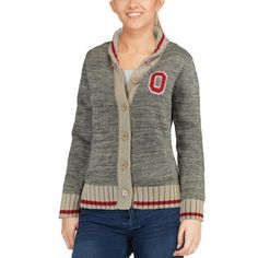 Renu Ohio State Buckeyes Women's Heathered Gray Her Button-Up Work Sock Cardigan Sweater
