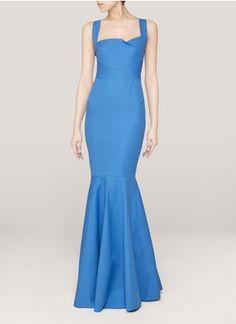 Roland Mouret - Mermaid-hem gown | Blue and Green Evening Dresses | Womenswear