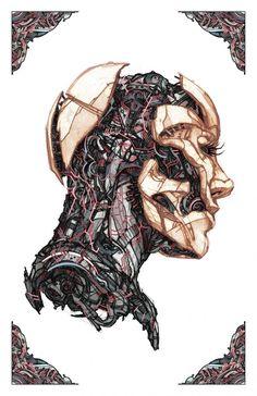 Future Flesh by Billy Nunez, via Behance Cyberpunk Aesthetic, Arte Cyberpunk, Cyberpunk 2020, Arte Steampunk, Character Art, Character Design, Arte Indie, Illustration Botanique, Arte Robot