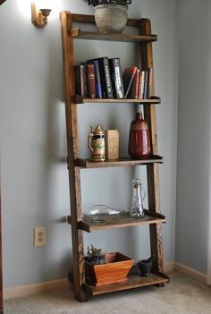 Ladder bookshelf stained dark walnut by jlswoodwork on Etsy https://www.etsy.com/listing/239487535/ladder-bookshelf-stained-dark-walnut