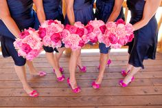 Ideas for wedding bouquets navy pink bridesmaid dresses Hot Pink Weddings, Pink Wedding Shoes, Wedding Colors, Pink Shoes, Fuschia Wedding, Bright Shoes, Pink Bridesmaid Dresses, Wedding Bridesmaids, Wedding Bouquets