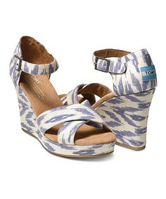 Take a look at this Blue Ikat Wedge Sandal - Women by TOMS on #zulily today! $44.99, regular 69.00