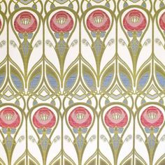 Charles Rennie Mackintosh Fabric, red and blue roses with stylised green stems on a cream background.
