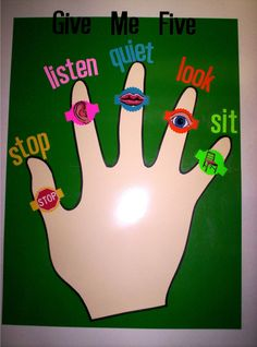 "for the classroom. ""Give Me Five"" But use: eyes, ears, feet, hands, body Art Classroom Rules, Classroom Behavior Management, Classroom Organisation, Classroom Setup, School Classroom, Class Management, Preschool Behavior, Teaching Kindergarten, Student Teaching"