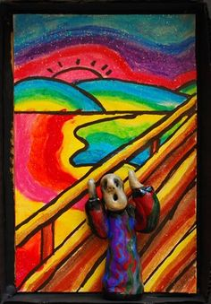 mixed media....oil pastel and clay?
