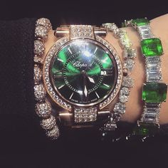 GOING GREEN  trying on some emeralds is always extra exciting when you happen to be wearing a green dial @chopard #chopardimperiale watch #green #baselworld2016 #baselworld #details #alfardanjewellery
